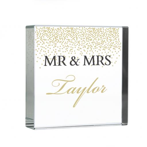 Personalised Gold Confetti Glass Block