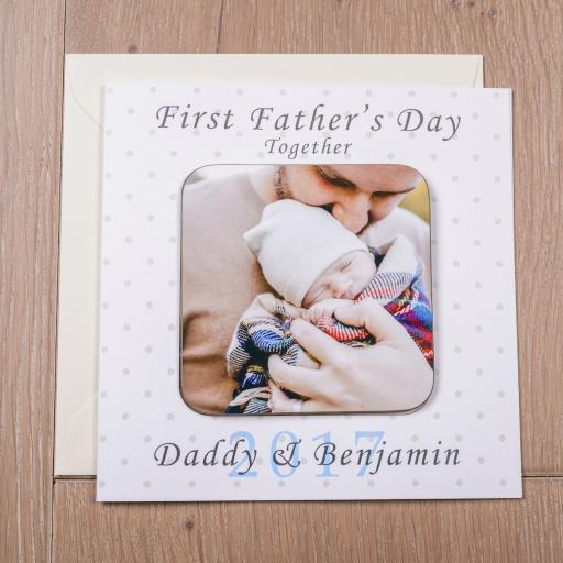 Personalised Card with Coaster - First Father's Day Together