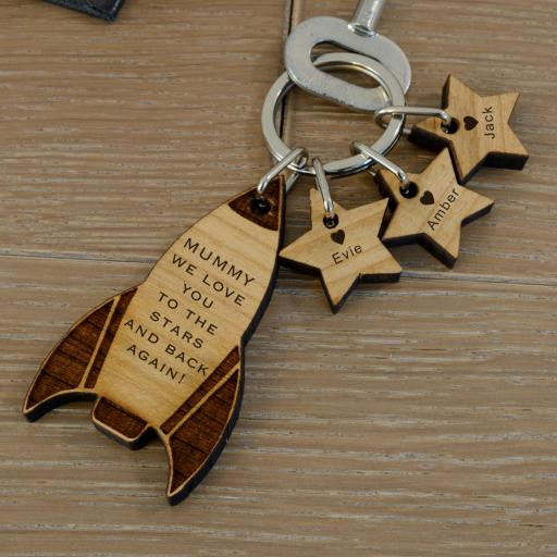 Personalised Wooden Keyring - Rocket