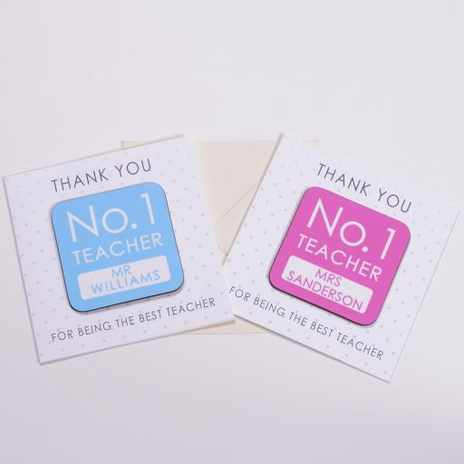 Personalised Card with Coaster - No1 Teacher