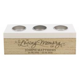 Personalised In Loving Memory Triple Tea Light Box