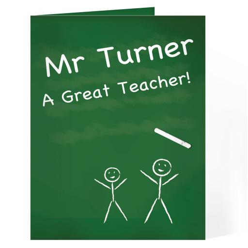 Personalised Chalkboard Teacher Card