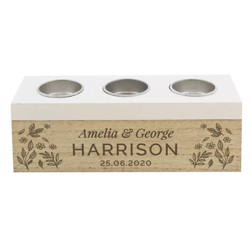 Personalised Floral Triple Tealight Box