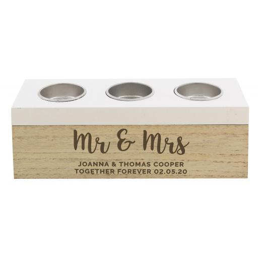 Personalised Married Couple Triple Tealight Box