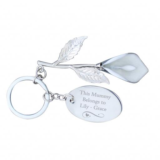 Personalised Silver Plated Calla Lily Keyring