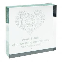 Personalised Damask White Heart Glass Block