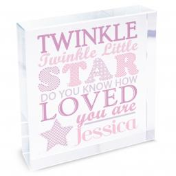 Personalised Girl's Twinkle Twinkle Glass Block