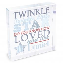 Personalised Boy's Twinkle Twinkle Glass Block