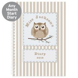 Personalised Woodland Owl Diary