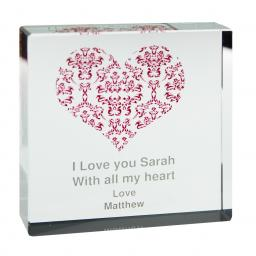 Personalised Damask Ruby Heart Glass Block