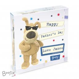 Personalised Boofle Stars Glass Block