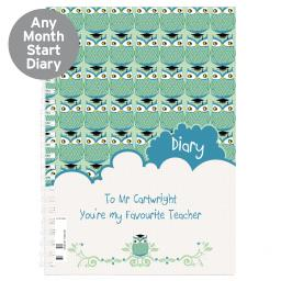 Personalised Green Owl Diary