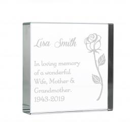 Personalised Rose Glass Block