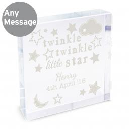 Personalised Twinkle Twinkle Glass Block