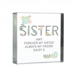 Personalised Floral Sister Glass Block