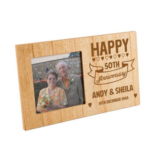 Personalised 50th Anniversary Wooden Frame