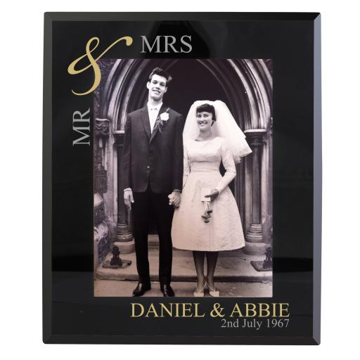 Personalised Gold Black Glass Frame