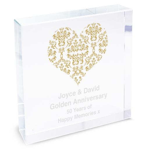 Personalised Damask Gold Heart Glass Block