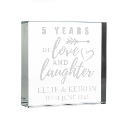 Personalised Anniversary Glass Block