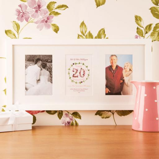 Personalised 20th Anniversary White Frame