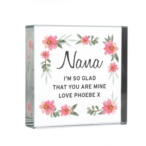 Personalised Floral Glass Block