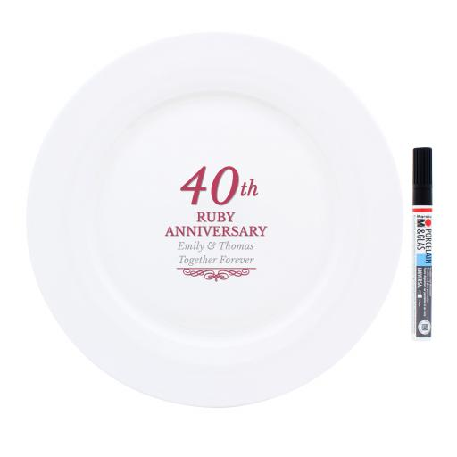 Personalised 40th Ruby Anniversary Message Plate & Pen