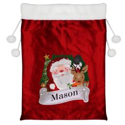 Personalised Santa and Rudolph Christmas Luxury Pom Pom Sack