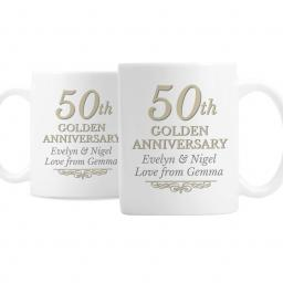 Personalised Pair 50th Golden Anniversary Mugs