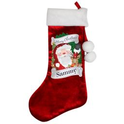 Personalised Merry Christmas Wishes Santa Luxury Stocking