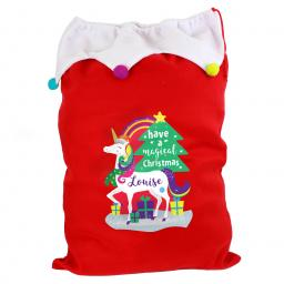 Personalised Unicorn Christmas Luxury Sack