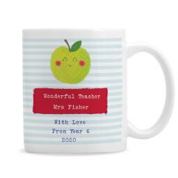 Personalised Happy Apple Teacher Ceramic Mug