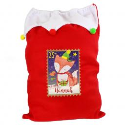 Personalised Festive Fox Christmas Luxury Sack