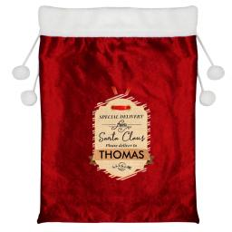 Personalised Special Delivery Santa Christmas Luxury Sack