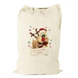 Personalised Boofle Santa and Rudolph Cotton Sack