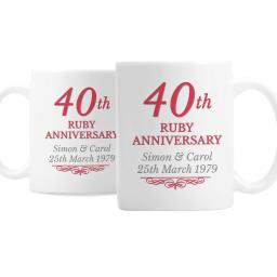 Personalised Pair 40th Ruby Anniversary Mugs