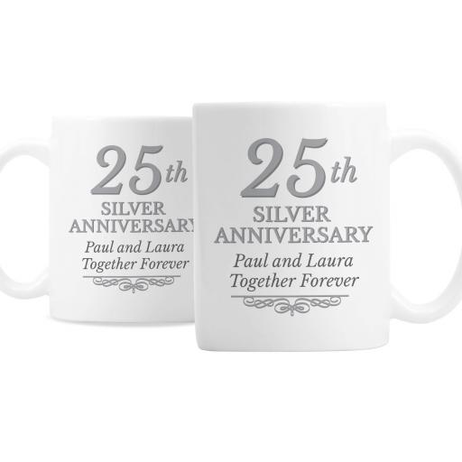 Personalised Pair 25th Silver Anniversary Mugs