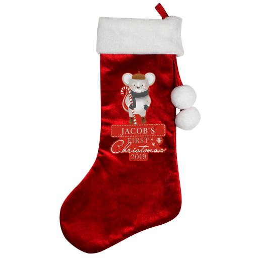Personalised First Christmas Mouse Luxury Stocking