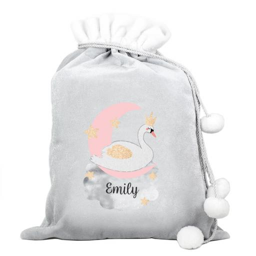 Personalised Swan Lake Luxury Silver Grey Sack