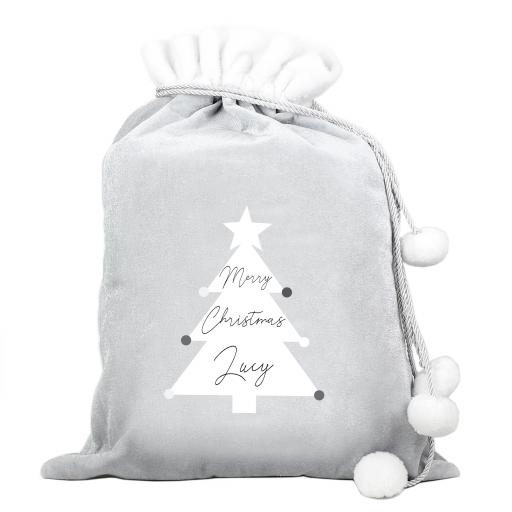 Personalised Christmas Tree Luxury Silver Grey Sack