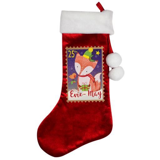 Personalised Festive Fox Christmas Luxury Stocking