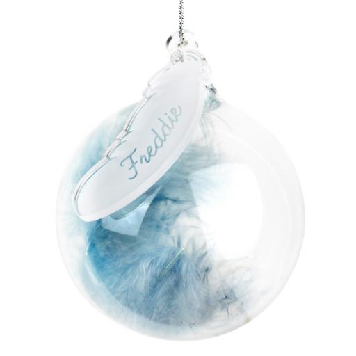 Personalised Blue Feather Glass Christmas Tree Bauble