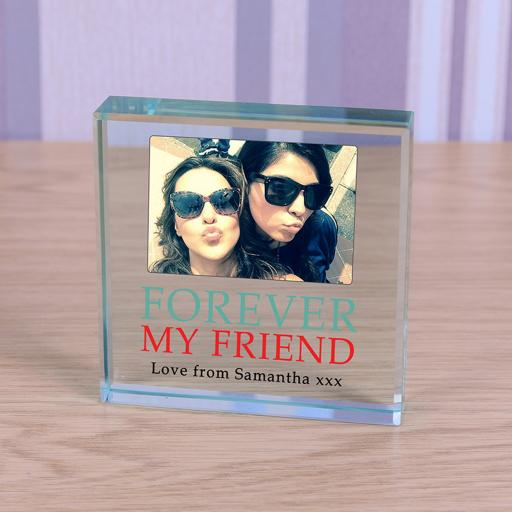 Personalised Glass Token Forever My Friend Photo Upload
