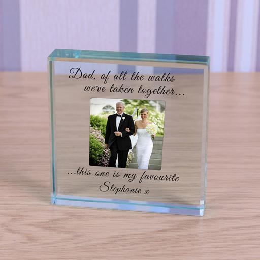 Personalised Glass Token Father Of The Bride Photo Upload