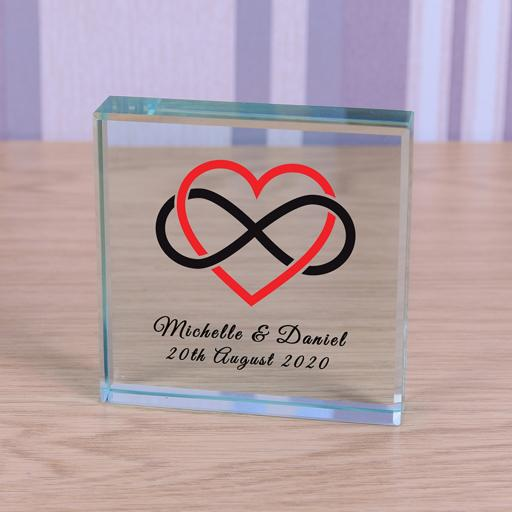 Personalised Glass Token Heart Infinity