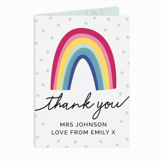 Personalised Rainbow Thank You Card